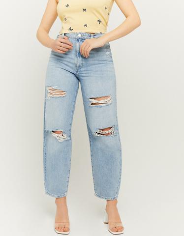 Niebieskie Mom jeansy z wysokim stanem