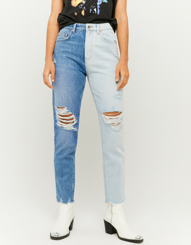 High Waist Two-tone Mom Jeans