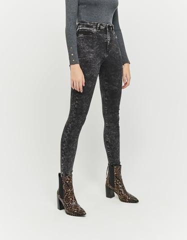 Schwarze High Waist Skinny Jeans