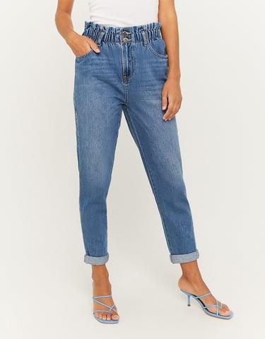 Jean Paperbag Taille Haute Bleu