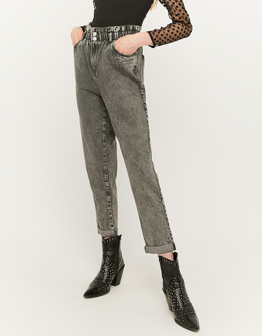 Jean Paperbag Taille Haute Gris