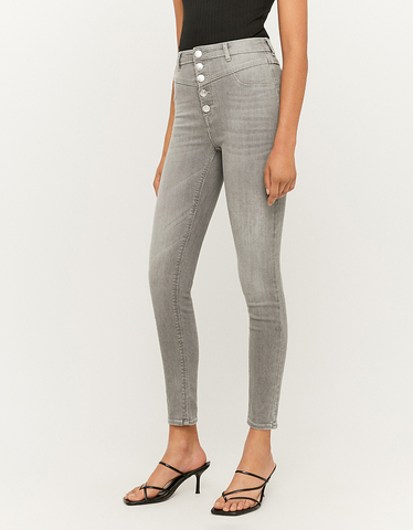 Jean Skinny Taille Basse Gris
