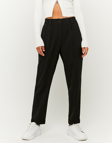 Black High Waist Tapered Trousers