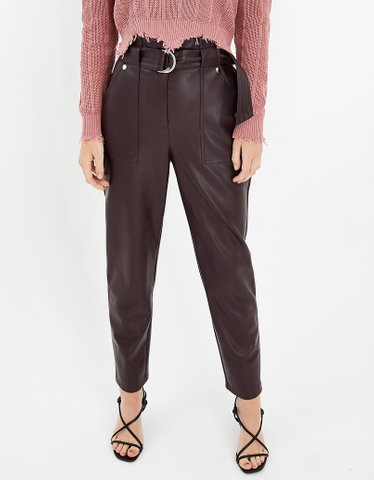 Burgundy Faux Leather PaperbagTrousers
