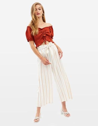 Gestreifte Culotte Hose aus Leinen