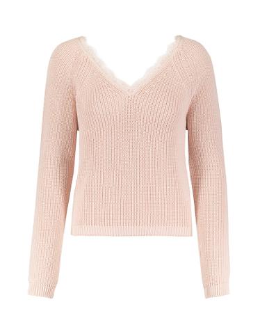 Pinker Pullover mit V-Auschnitt und Spitze