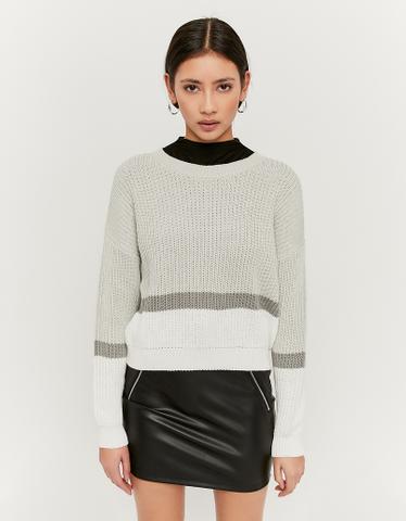 Zweifarbig-gestreifter Pullover