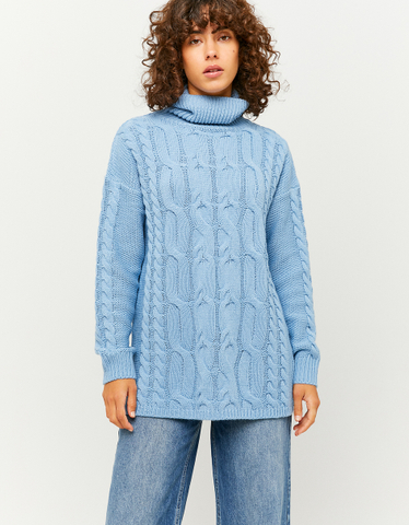 Niebieski długi sweter