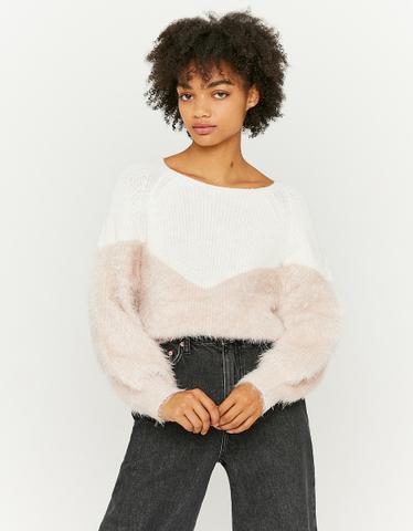 Pullover aus zwei Materialen