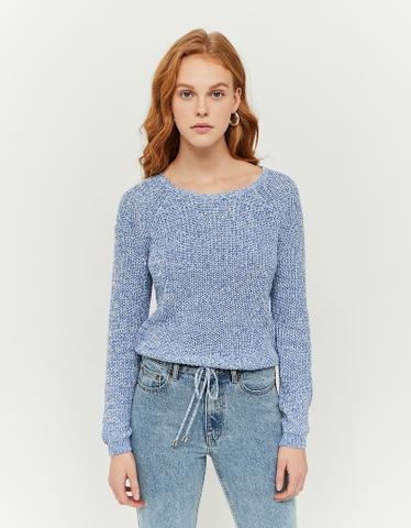 Blauer Pullover mit Raglanärmel und Kordelzug