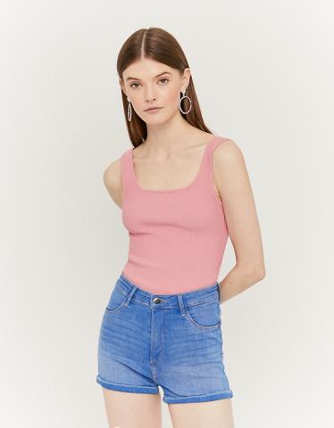 Pinkes Träger Top aus Strick