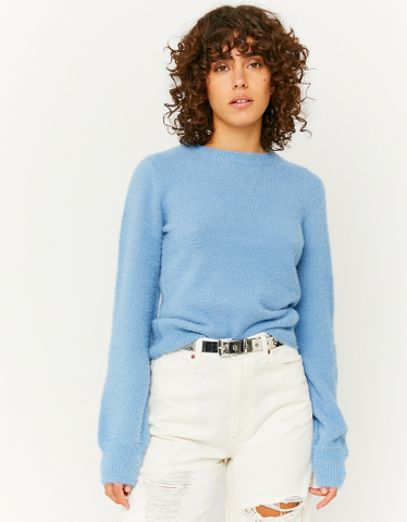 Blauer weicher Pullover mit Puffärmeln