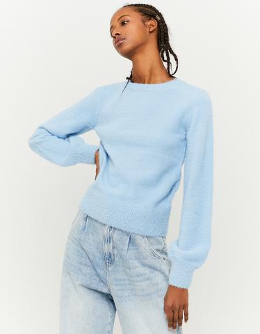 Blauer Pullover mit Puffärmlen