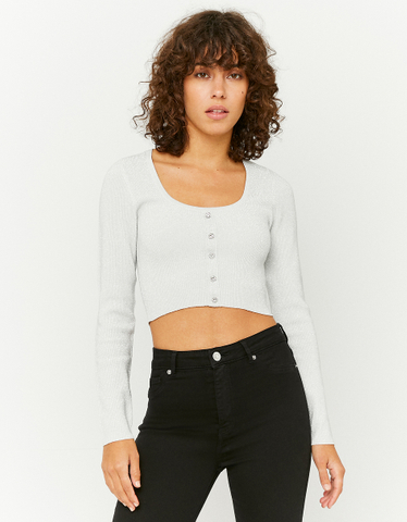 White Cropped Cardigan