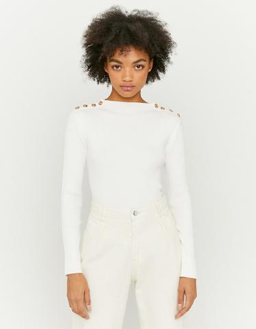 Pull Blanc avec Boutons