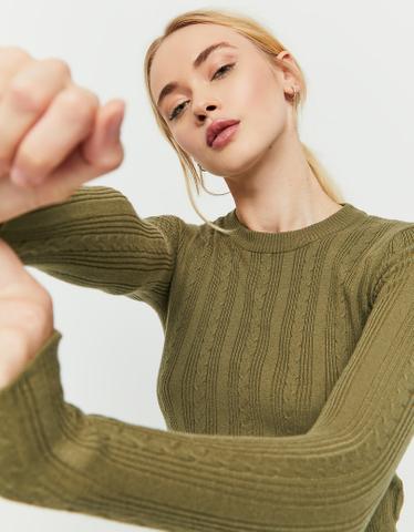 Khaki, gerippter Pullover