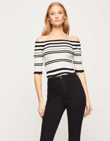 White Striped Shirred Top
