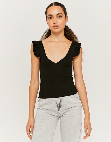 Black Sleeveless Knit Top with Ruffles