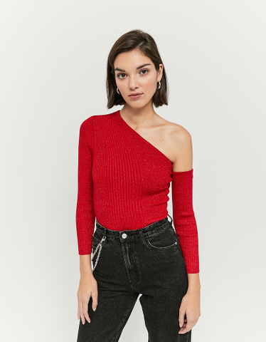 Rotes schulterfreies Top Pullover