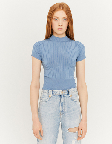 Blue Knit T-Shirt with Mock Neck