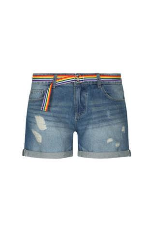 Denim Shorts mit buntem Gürtel