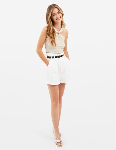 Short en Lin Blanc