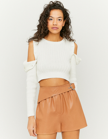 Brown Faux Leather Belted Shorts