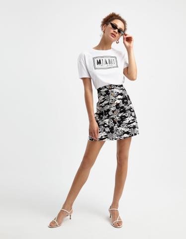 Black Tropical Print Skirt