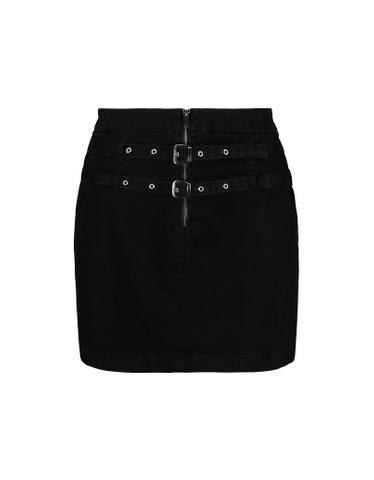 Black High Waist Skirt with Buckles