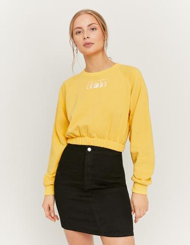 Black High Waist Stretch Mini Denim Skirt