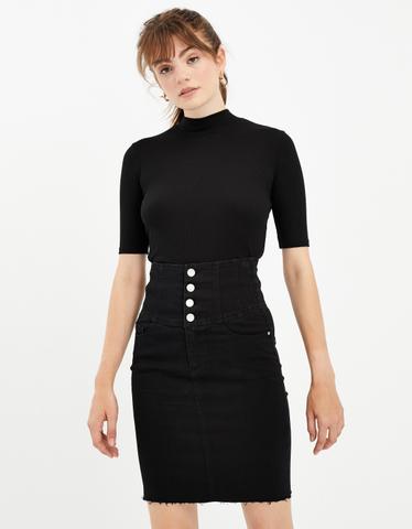 Black High Waist Button Front Skirt
