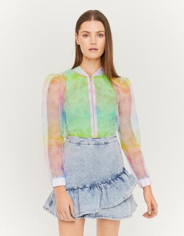 Denim Skirt with Ruffles