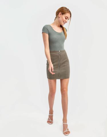 Khaki Suede Skirt
