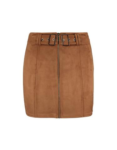Beige Suedette Skirt