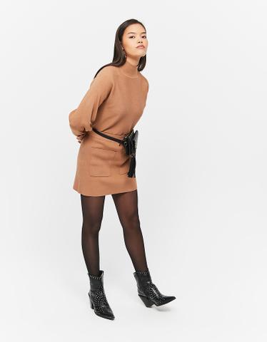 Beige Ribbed Knit Skirt