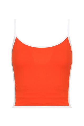 Orange-weißes Crop-Top