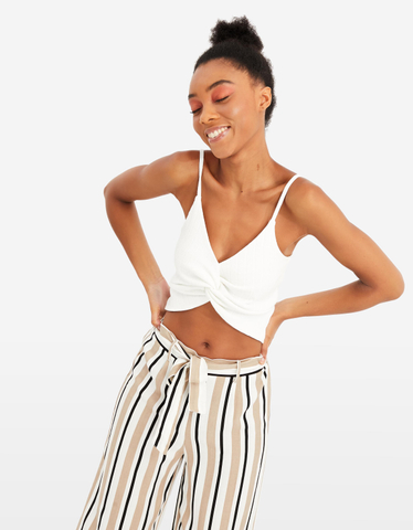 White Twisted Crop Top