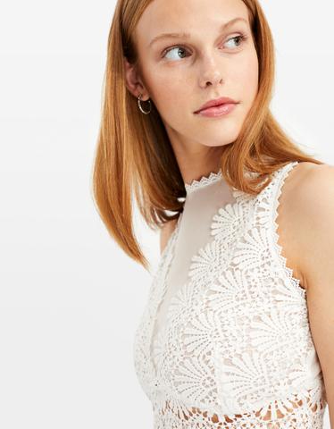 White Crochet & Mesh Top