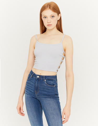 Blue Crop Top with Cut Out