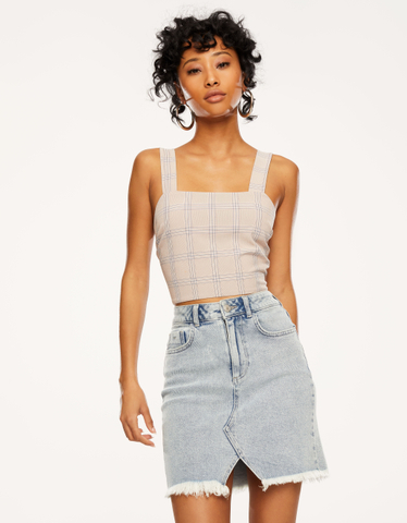 Pink Checked Crop Top