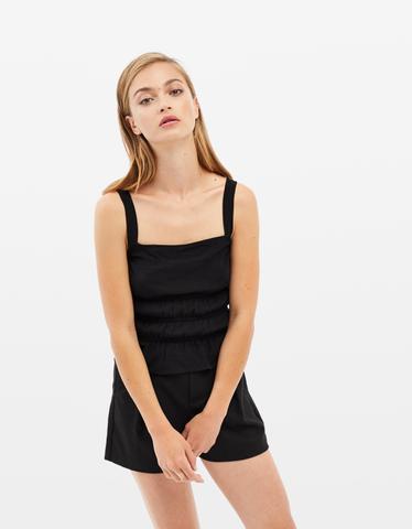 Black Shirred Top