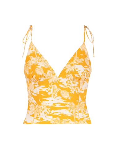 Yellow Tropical Crop Top
