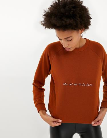 Cognac Sweatshirt with Slogan