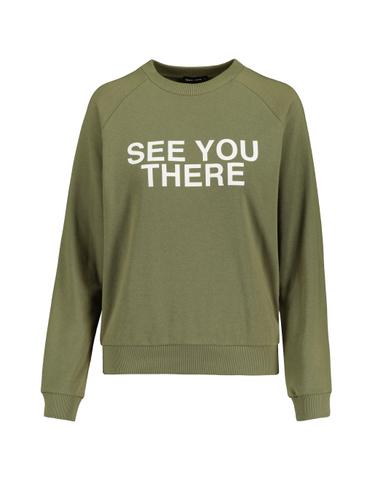 Khaki Sweatshirt with Slogan