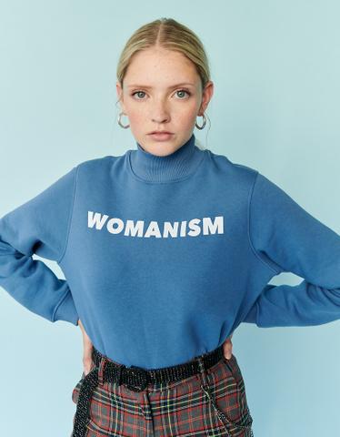 Blaues Sweatshirt mit Aufschrift