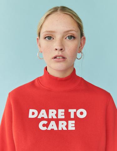 Orange Sweatshirt with Slogan