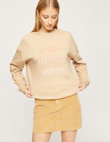 Beige Slogan Sweatshirt