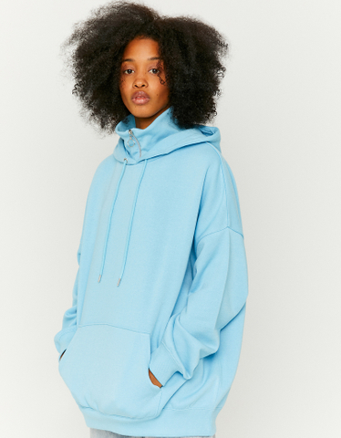 Blue Loose Hoodie with High Neck