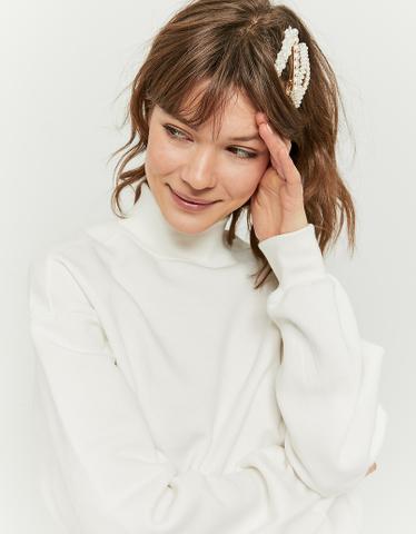 Weißes Sweatshirt mit Stehkragen