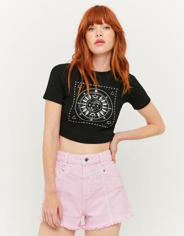 Black Printed Basic T-Shirt